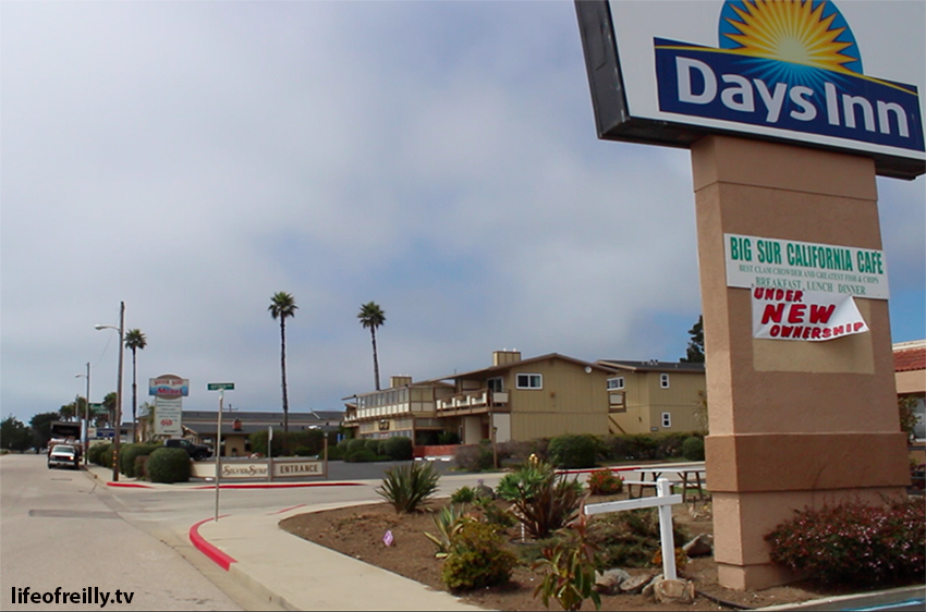 The main strip of hotels in San Simeon. Make sure you book ahead.