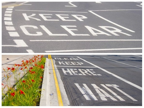 Top: UK road markings. Bottom: Typical sequence of road markings in the USA