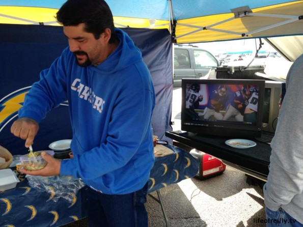 This was the Tailgating that I experienced at a Chargers v Raiders game, complete with BBQ and TV!