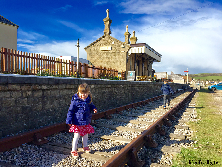 The old Railway Station at West Bay looks like a train set building