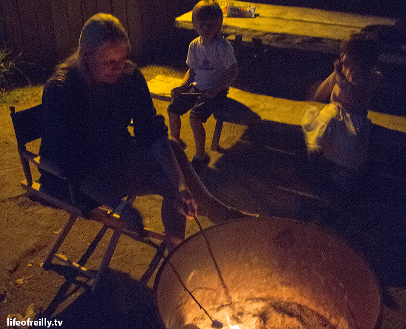 Cooking marshmallows on the fire pit outside our cabin at El Capitan Canyon!